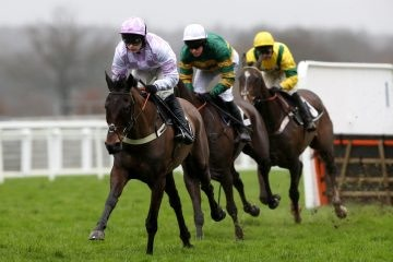Master Debonair ridden by Jonjo O'Neil (left) in The Thames Materials Novices' Hrudle Race during Betfair Ascot Chase Raceday at Ascot Racecourse.